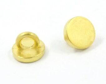 Metal Buttons - Matte Gold Metal Shank Buttons , 0.29 inch , 10 pcs