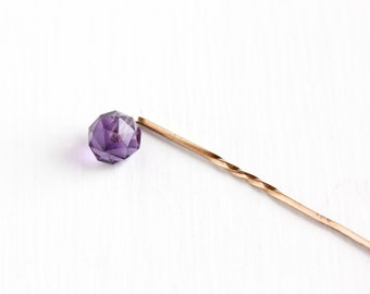 Antique Edwardian Rose Gold Filled Amethyst Stick Pin - Vintage Early 1900s Faceted Purple Drilled Bead Gemstone February Birthstone Jewelry