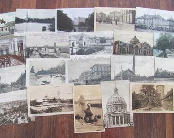 Danish Modern Postal History Collection of 20 Vintage Used Postcards Danmark Copenhagen Architecture Scrapbooking Ephemera Travel Journal