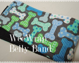 Dog Diaper Belly Band, WeeWrap,  Dog Bone Fabric, Stops Marking,  Personalized