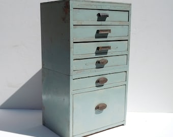 Vintage 6 Drawer Wood Cabinet / Storage Organization / Distressed Painted Handmade Cabinet / Distressed Wood Cabinet / Rustic