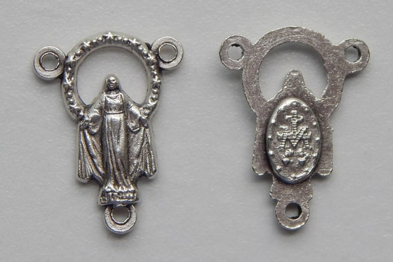 5 Rosary Center Piece Finding - 20mm Long, Mary Immaculate, Small Corona, Silver Color Oxidized Metal, Rosary Center, Religious Bead, RC107