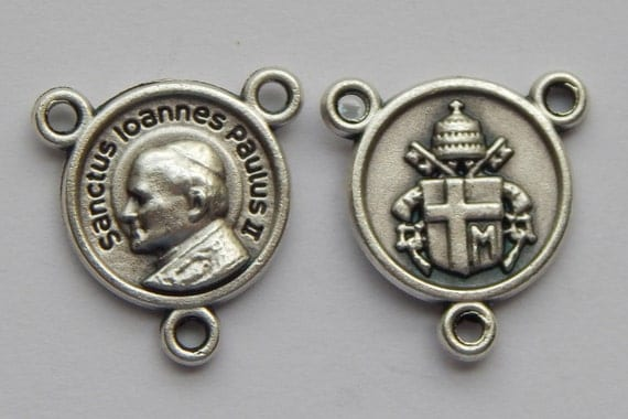 5 Rosary Center Piece Findings - 16mm Long, Saint John Paul II, Papal Symbol, Silver Color Oxidized Metal, Rosary Center, RC514