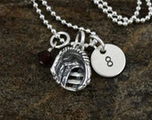 Baseball Softball  Necklace -  Hand Stamped Sterling Silver Personalized Initial Necklace