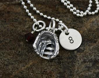 Baseball Softball  Necklace   Sterling Silver Personalized Baseball Softball Jewelry