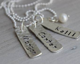 3 names necklace, stamped mothers necklace, three names, mom with 3 kids, mommy necklace, stamped name tags, name jewelry, gift for mom