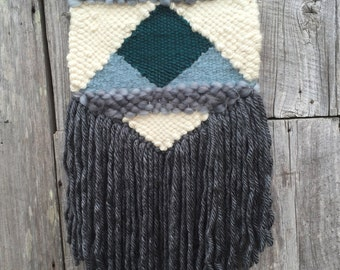 Woven Wall Hanging / Tapestry Weaving / Gray and Teal