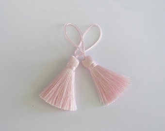 Baby Pink Tassel Silk Dangling Trim Fringe Bracelet Earrings Making Scarf Bag Sewing Embellishments 2 pieces