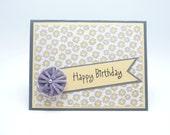 Happy Birthday Card, Pastel Yellow and Grey Classy Feminine Birthday Card, Handmade Paper Greeting Card