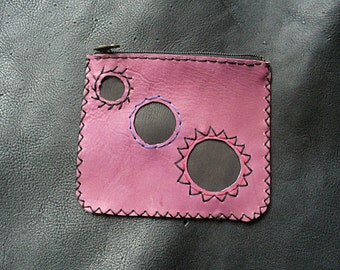 "Handmade leather coin purse. ""Violet Spell"". One of a kind."