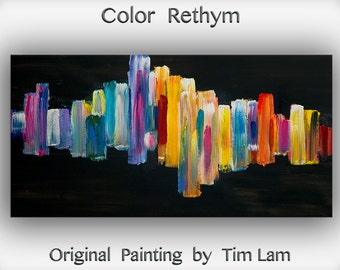 "Original Abstract Painting Wall Art Oil Painting 48""x24"" Canvas  Original Modern Home Deco, Wall Hanging, Surreal Road by Tim Lam"