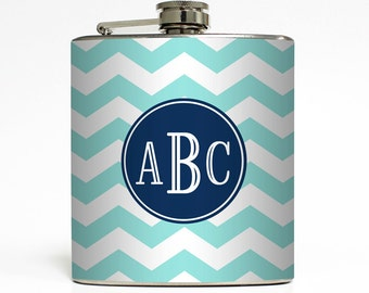 Personalized Flask with Your Initials on Chevron Striped Pattern Custom Color - Stainless Steel 6 oz Liquor Hip Flask LC-1061