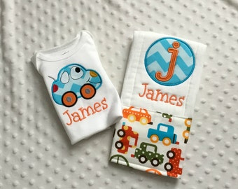 Baby Boy  2 Piece Gift Set, Personalized Bodysuit and Burp Cloth,