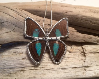 Real Butterfly Wing Necklace, Blue butterfly Pendant,handmade butterfly pendant, butterly wing