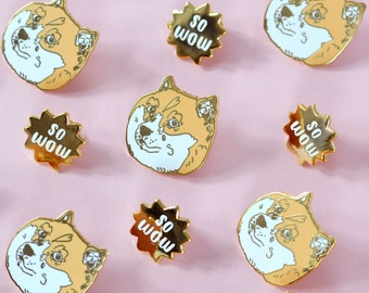 doge pin set - so wow - meme enamel lapel pin
