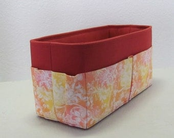 "MEDIUM Purse Insert ORGANIZER Purse Shaper (4""-5"" Width/Depth)  . Burnt Scarlet with Pink and Yellow Pocket.... Strong/Durable -(Inside pkts"
