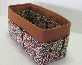 TALL Purse Insert Organizer  Shaper Canvas..  . Caramel with Cheetah Pockets -- 5 Tall Sizes -- Strong and Durable