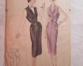 "Antique 1951 Vogue Pattern #7193 - size 30"" Bust"