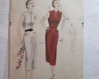 "Antique 1951 Vogue Pattern #7308- size 30"" Bust"