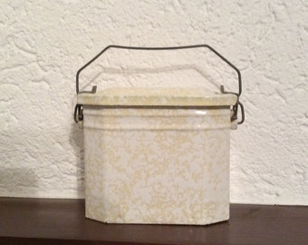 Vintage French Graniteware Lunch Pail, Yellow and White