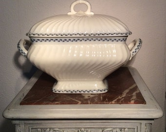 Antique Tureen, Terrine, Lidded Casserole, Blue and White, Transferware