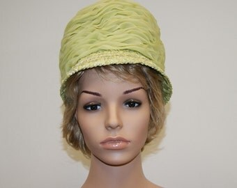 Vintage 60's Mod Light Neon Green Straw, Chiffon Tall Bubble Stewardess Hat