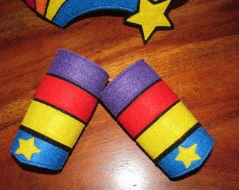 Rainbow Brite wrist cuffs / rainbow cuffs / Rainbow Brite / custom wrist cuffs