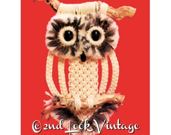 Vintage Macrame Pattern Feathered Owl Wall Hanging 1970s Sculpture Digital Download PDF