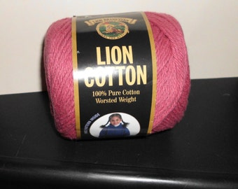 1 Skein of Lion Brand Cotton Yarn Great for Dishcloths ROSE Discontinued