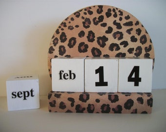 Leopard Calendar Perpetual Block Calendar Round Wood Brown Tan Leopard Theme Decor