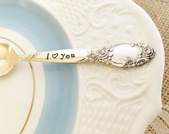 Baby spoon, I love you- silver plated, ballad, hand stamped