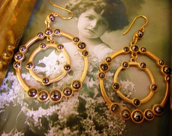 Vintage Dangle Larger Wire Earrings Gold Metal Double Circle Rings Metal Gray Beads