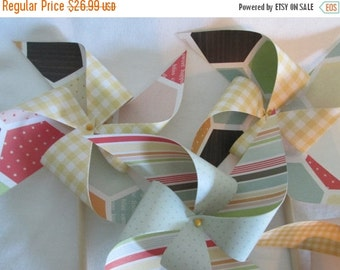 SALE 50% OFF Pinwheels in Summery Bright Bee Honeycomb Designs Set of 10 Pinwheels for a Birthday Party or a Baby Shower or a Bat Mitzvah or