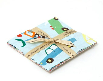 """Wheels 2 5"""" Squares Charm Pack by Deena Rutter for Riley Blake, 12 pieces"""