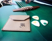 Embossed Monogrammed Faux Leather Pick Pouch, 6 Upcycled Guitar Picks, PIC40197