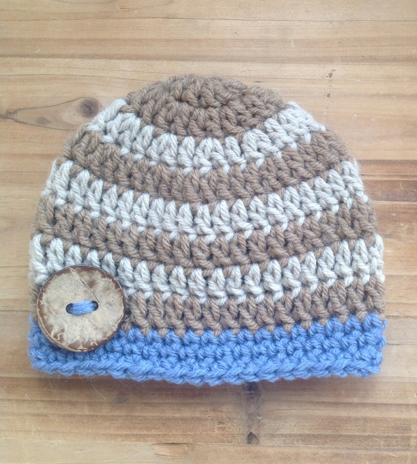 Crochet Baby Hat Infant Hat Striped Baby Hat Brown Blue Tan