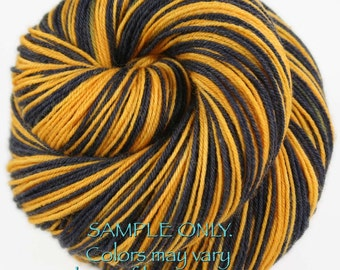 "Dyed to Order: Self-striping Hand-dyed Sock Yarn - ""BLACK - GOLD"" - Football yarn - Baseball Basketball - School colors - Pittsburgh, Boston"