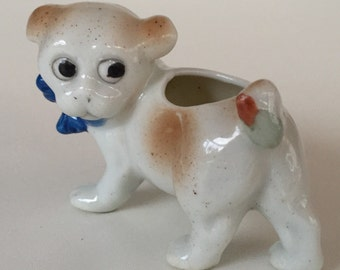 Vintage Dog Toothpick Holder/Occupied Japan// Google Eyed Puppy Bulldog Figurine/ Made In Japan/ Googly Eyes/Miniature Dog/ by Gatormom13