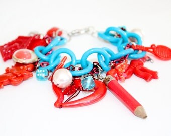 Red and Turquoise Chunky Charm Bracelet