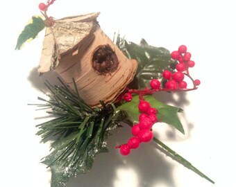 ADORABLE Birchbark Birdhouse Holiday Ornament/Pick, with Red Berries and Ivy and Pine Needles!