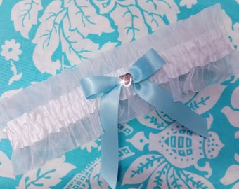 Something blue Wedding Garter , beautiful  white, heart wedding garter  white wedding garter, blue wedding garter
