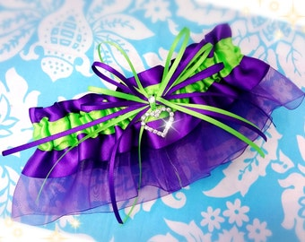 Wedding Garter ,  Purple and Bright Green heart garter