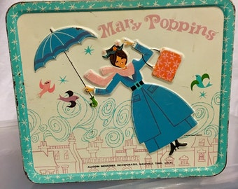 1965 Mary Poppins Aladdin industries metal lunch box lunchbox