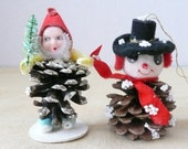 Two Pinecone and Spun Cotton Christmas Tree Ornaments, Spun Cotton Elf, Spun Cotton Snowman