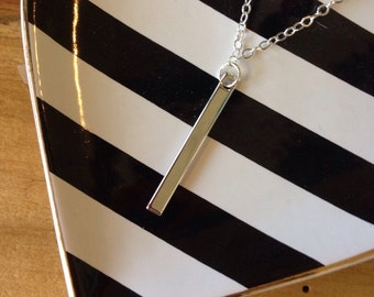 Dainty Gold or Silver Bar Pendant Necklace