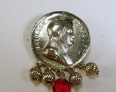 Sale 20 Vintage gold toned metal Napoleon Bonaparte imitation coin rhinestone brooch pin