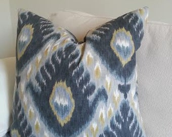 Ikat Decorative Pillow Cover / Both Sides / Citrine / Ivory and Shades of Grey
