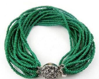 1960's Green Seed Beads Multi Strand Bracelet - Modernist Clasp