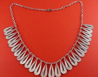 Sterling Silver Filigree Wire Work Teardrops Multi Pendants Necklace- Etruscan Revival, Signed