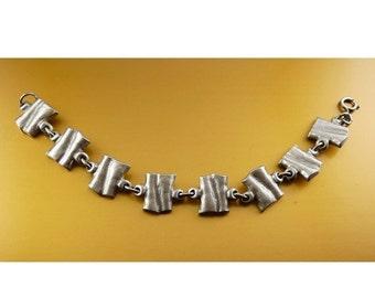 SALE TENN Pewter Mid Century Modernist Link Bracelet - Sweden, HW Tenn